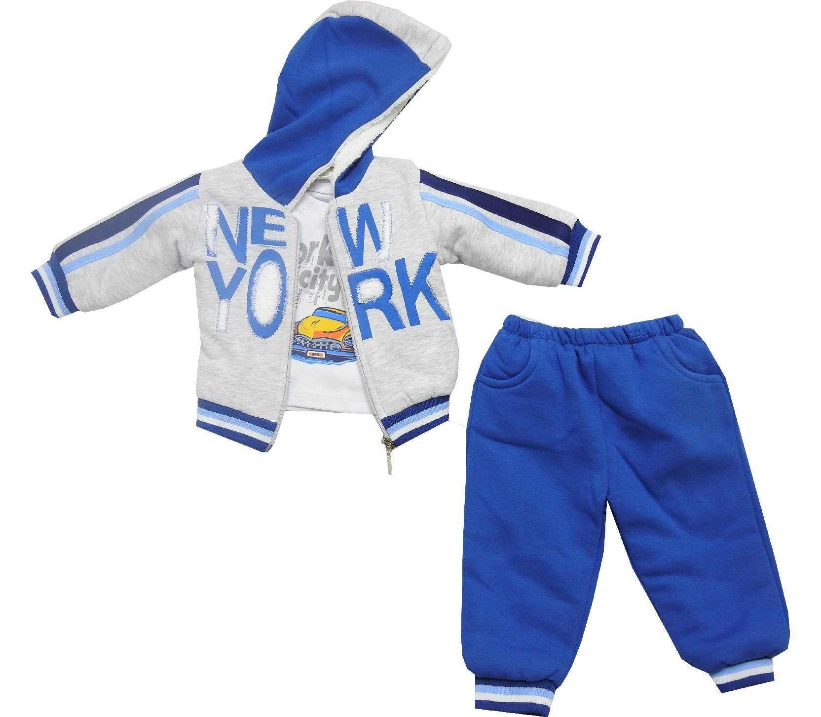 Wholesale new york print jacket, t-shirt and trouser triple set tracksuit for baby boy (9-12-18 month)