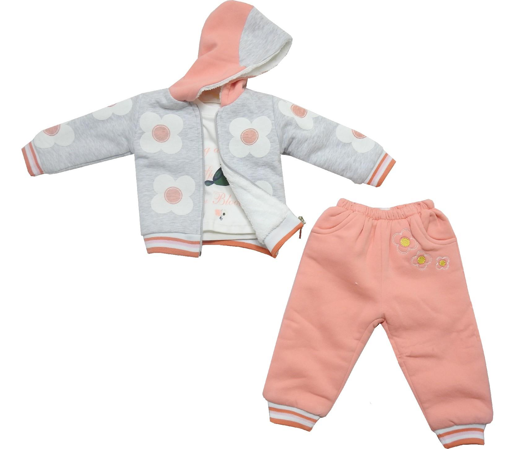 Wholesale hooded faux shearling jacket, long sleeve t-shirt and trouser triple set tracksuit for baby girl (9-12-18 month)
