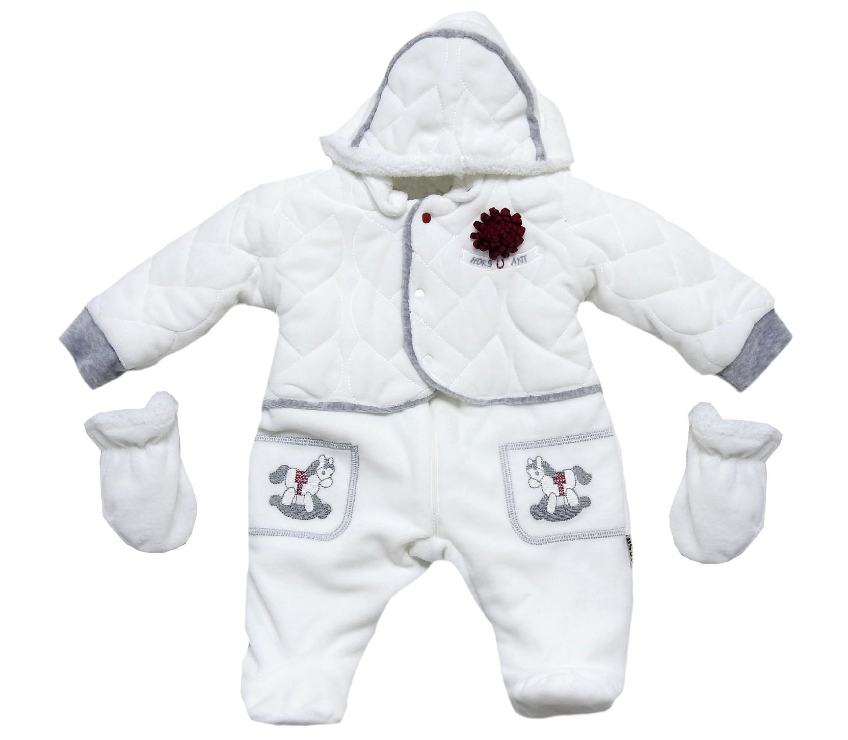 Wholesale horse print hooded velvet romper with gloves for baby (3-6-9 month)