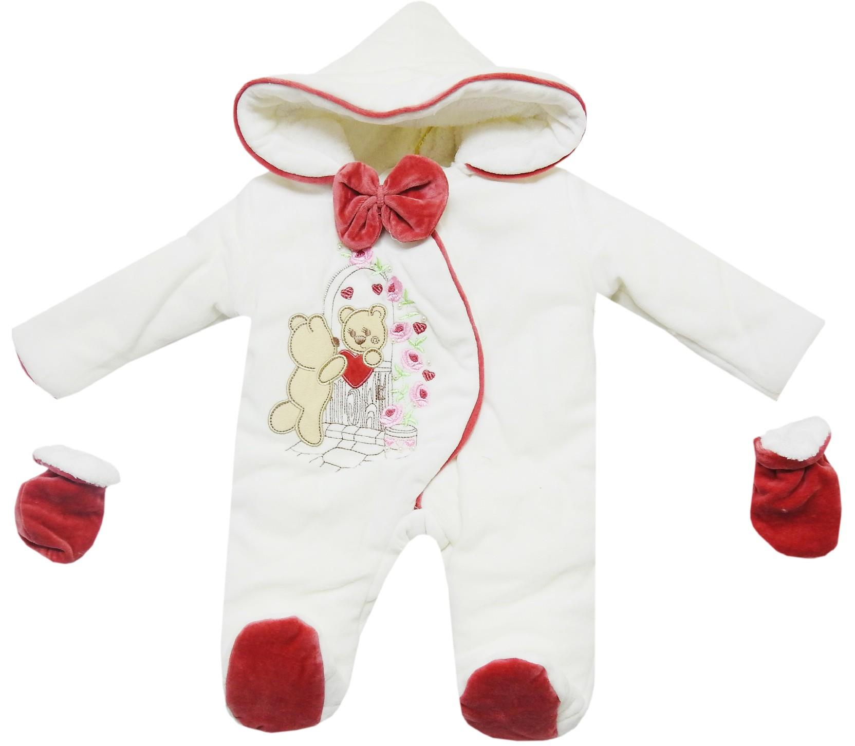Wholesale bear print velvet hooded romper with gloves for baby girl (3-6-9 month)