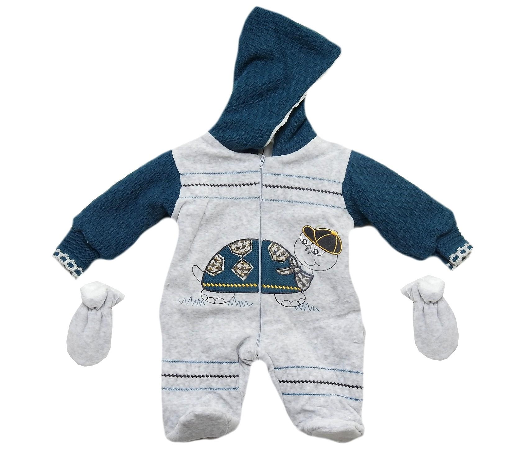 Wholesale Hooded trutle print romper for baby boy (3-6-9 month)