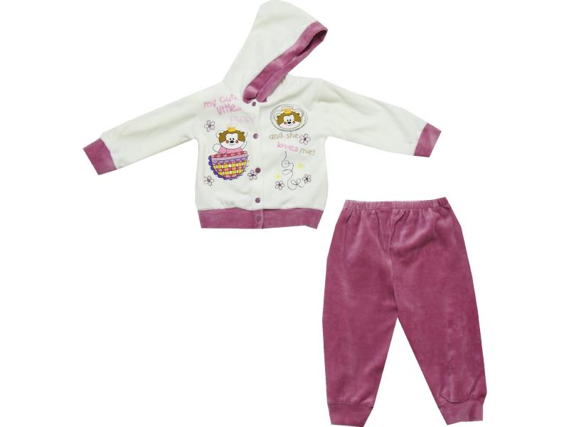 Wholesale bear print hooded sweatshirt and trouser double set suit for baby (6-9 month)