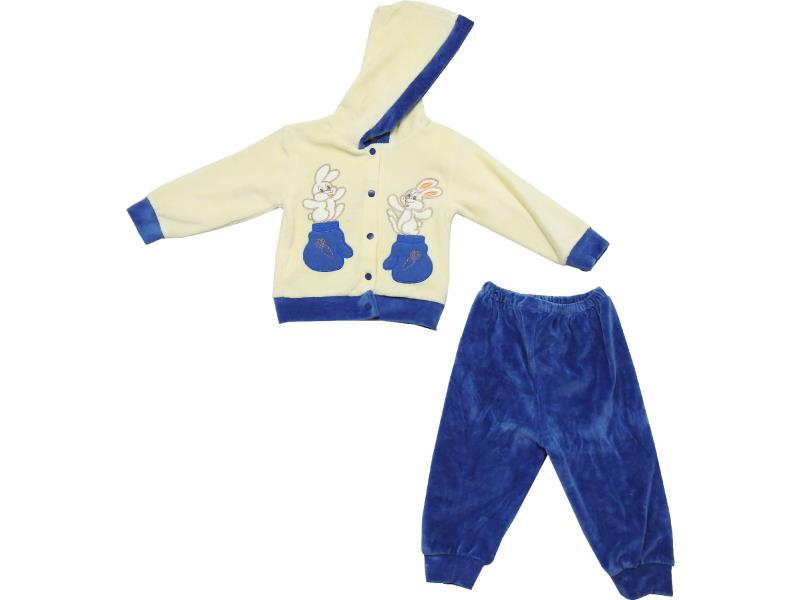Wholesale bunny print hooded velvet sweatshirt and trouser double set suit for boy (6-9 month)