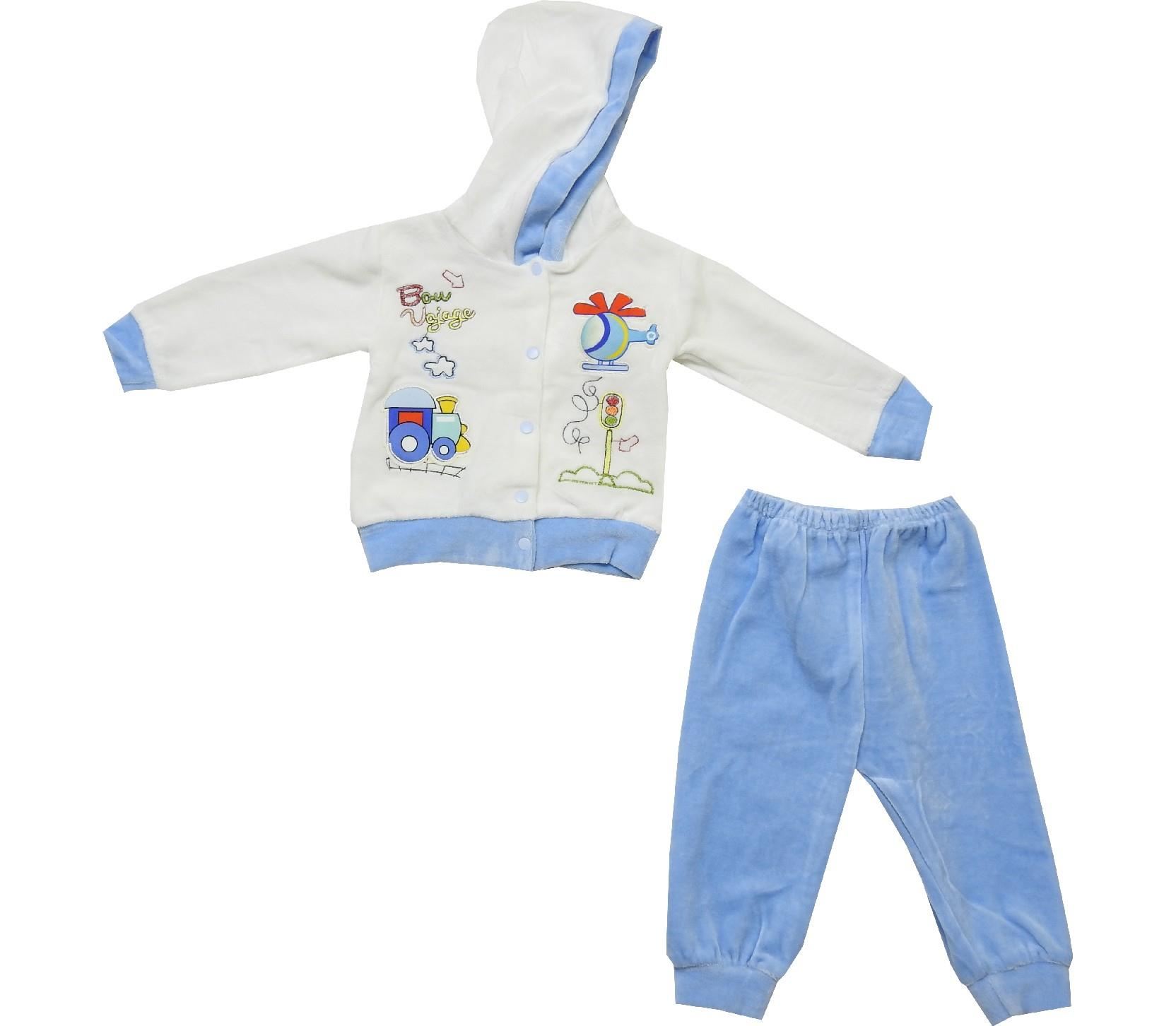Wholesale hooded vojage print velvet sweatshirt and trouser double set suit for baby (6-9 month)