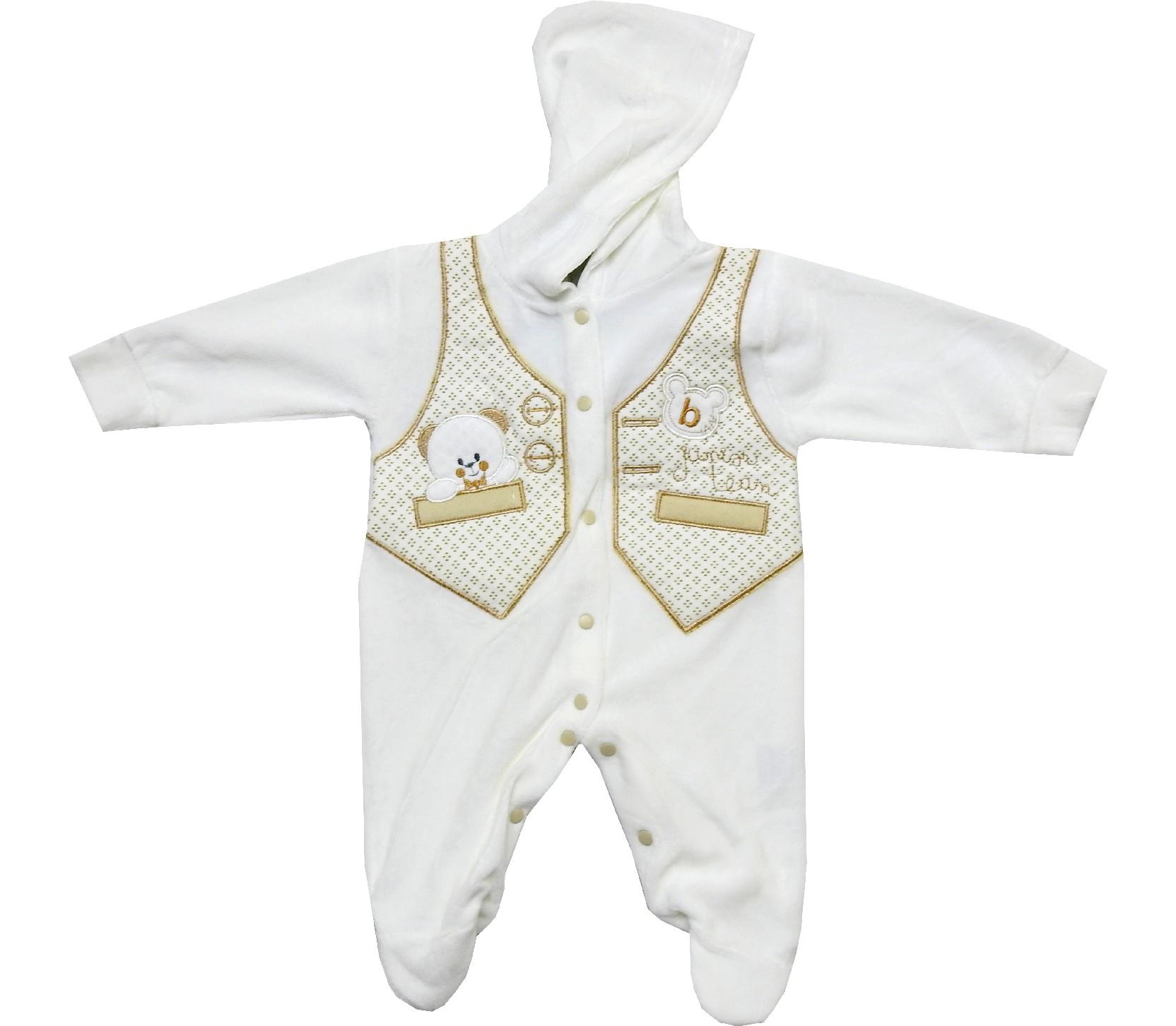 Wholesale velvet bear sewed romper for baby (6-9 month)