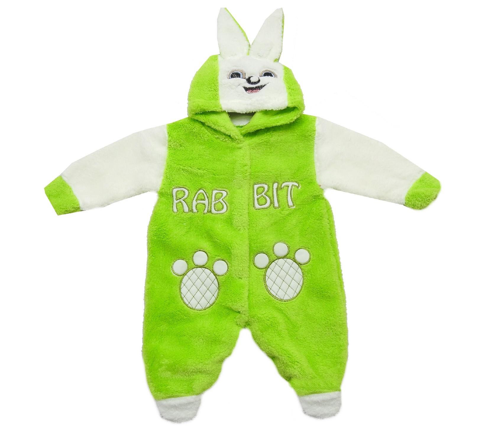 Wholesale ''RABBIT'' printed faux shearling romper for baby (6-9 month)
