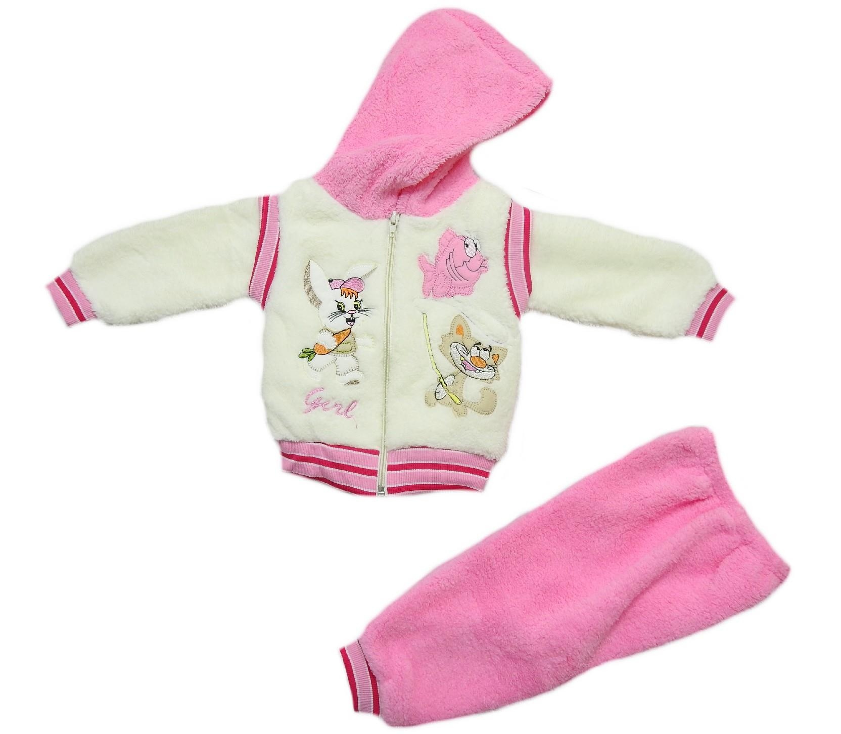 Wholesale rabbit print faux shearling for sweatshirt and trouer double set suit for babies (6-9 month)