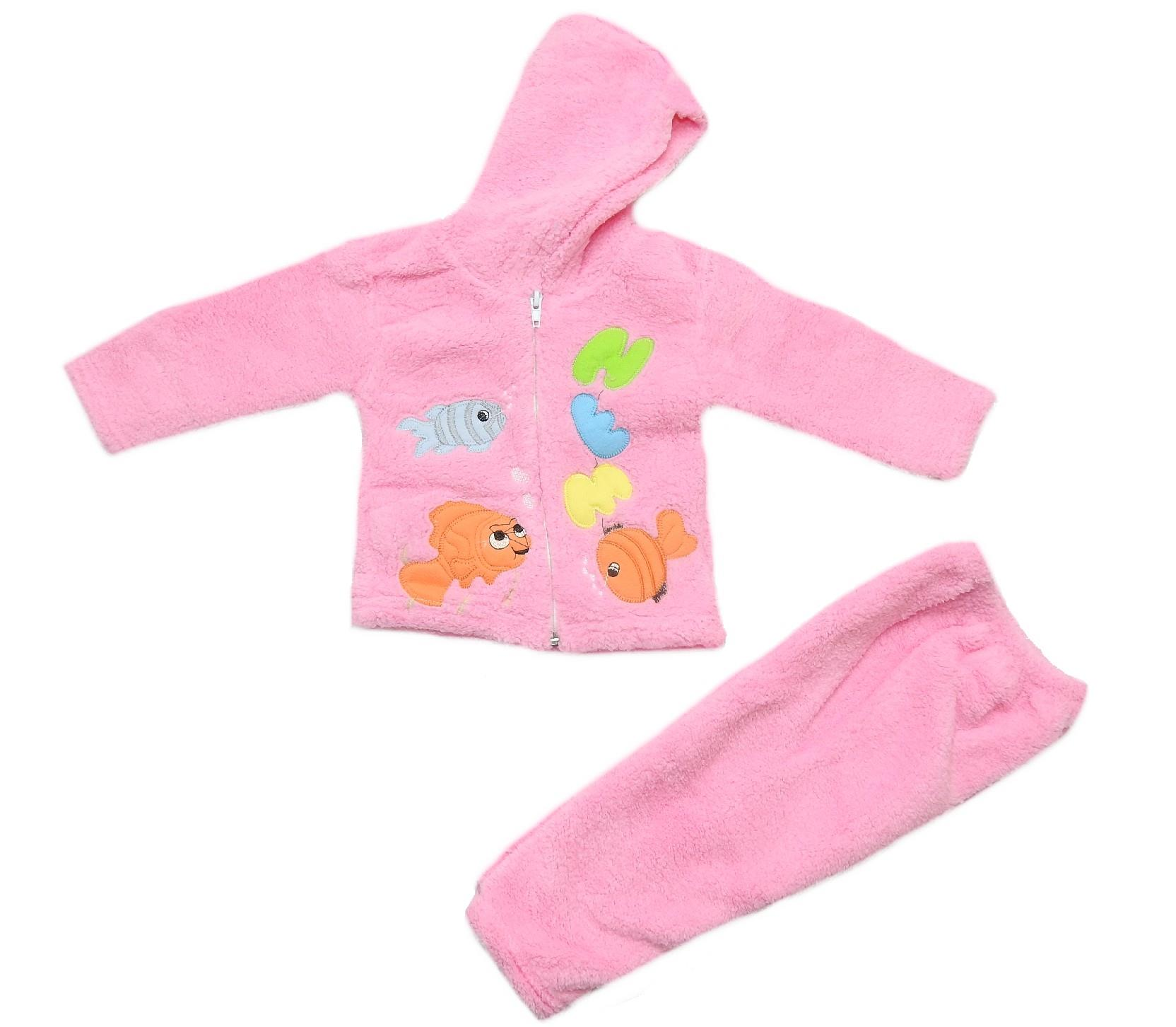 Wholesale fish print faux shearling hoodie cardigan and trouser for baby (6-9 month)