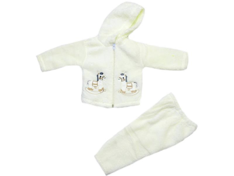 Wholesale horse print faux shearling hhodie sweatshirt and trouser double set suit for babies (6-9 month)