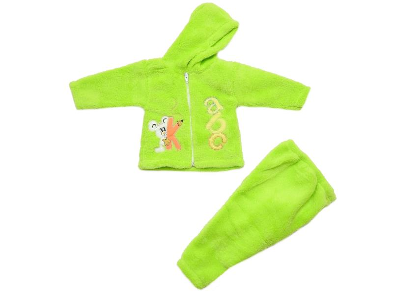 Wholesale ''abc'' print faux shearling jacket and trouser for kids (6-9 month)