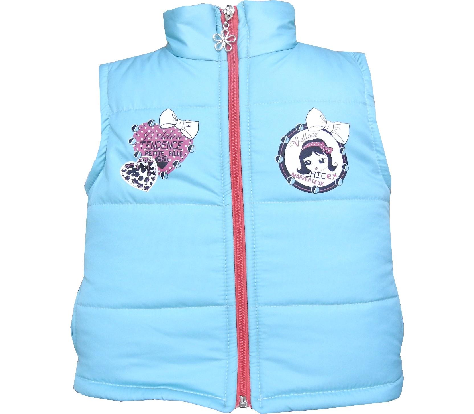 Wholesale heart print zip fastening vestcoat for girl (1-2-3-4 age)