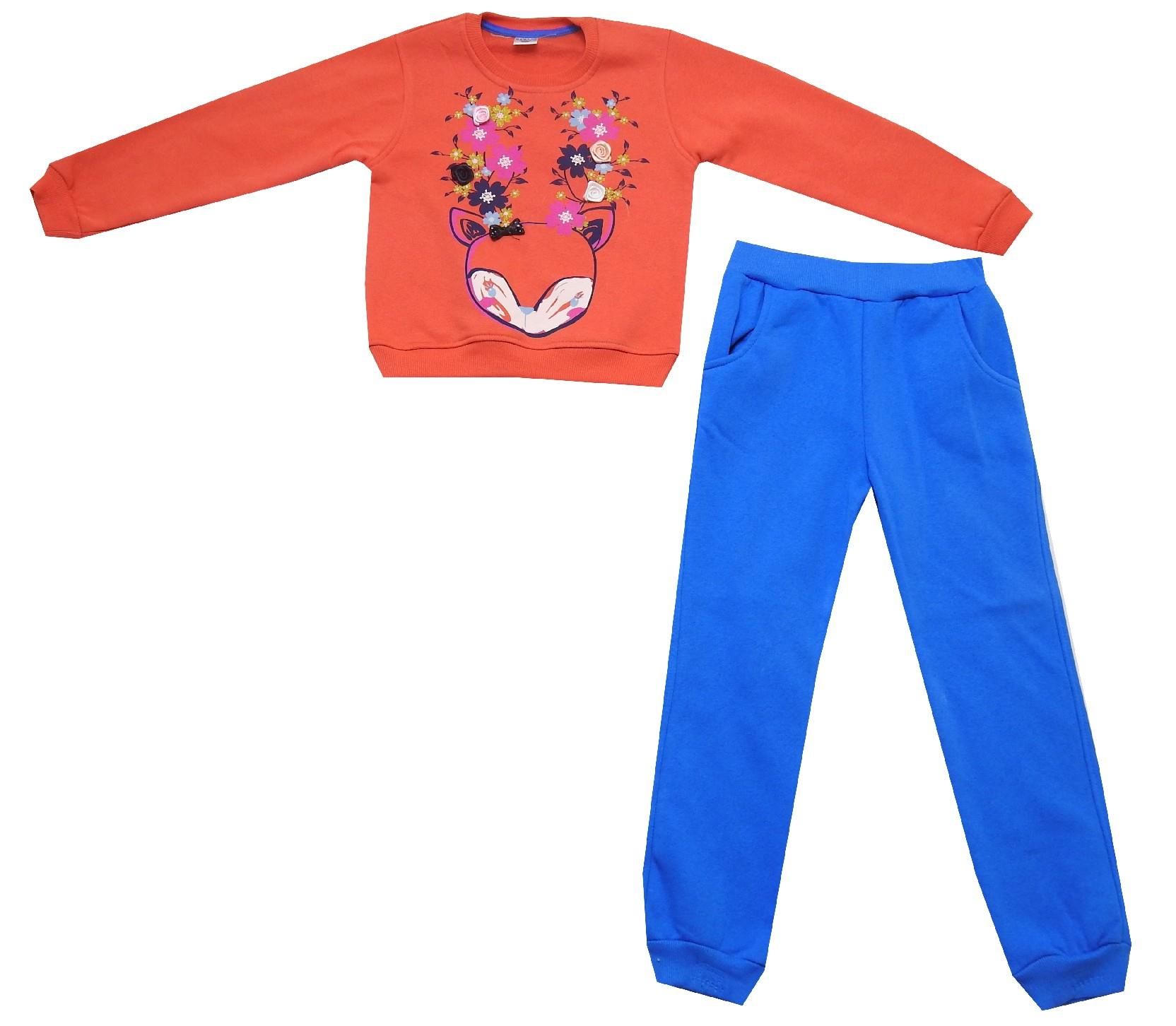 Wholesale cat flower print three-ply sweatshirt and trouser double set tracksuit for girl (5-6-7-8 age)