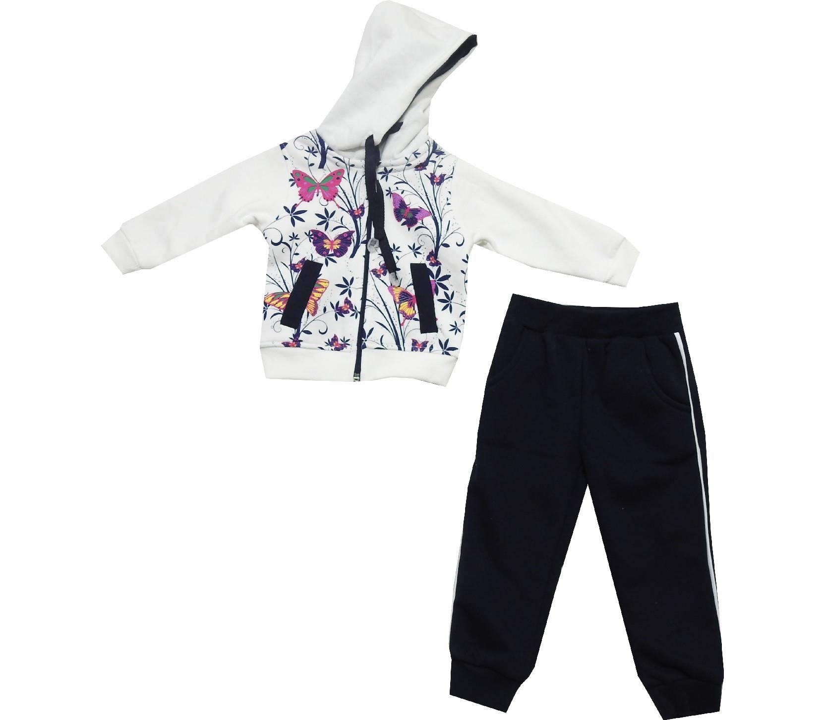 Wholesale hooded butterfly embroidery sweatshirt and trouser double set tracksuit for girl (1-2-3-4 age)