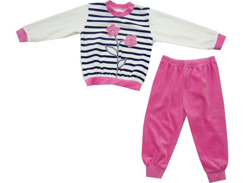 Wholesale striped flower embroidery double set tracksuit for girl (6-12-18-24 month)
