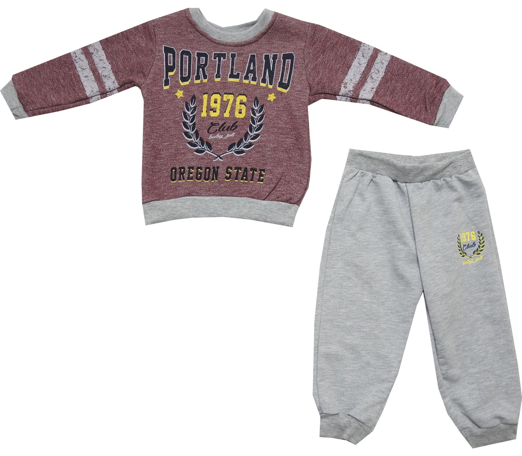 Wholesale portland 1976 print sweatshirt and trouser double set tracksuit for boy (3-4-5-6 age)