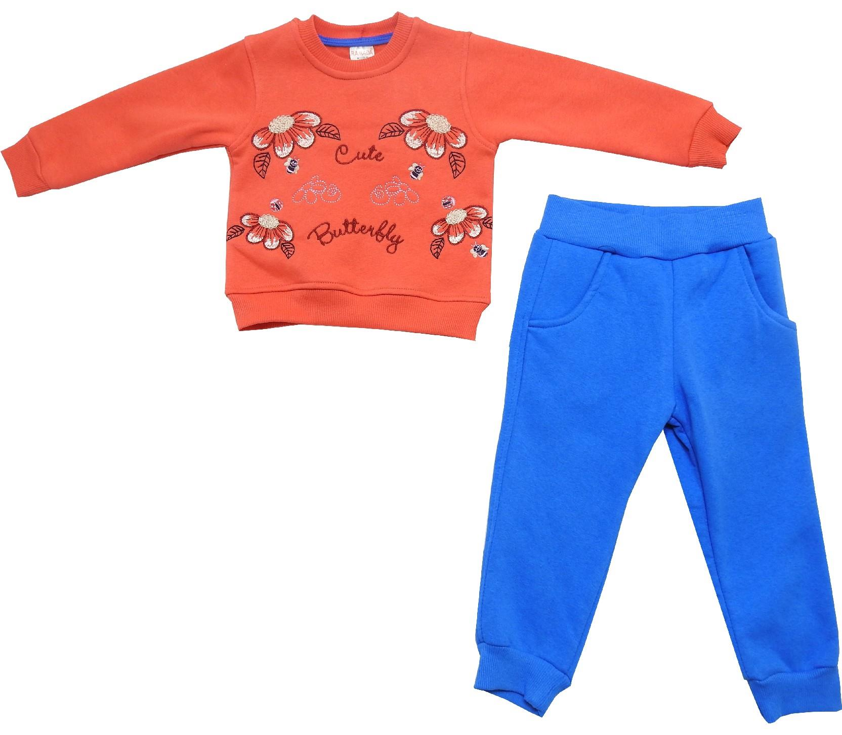 Wholesale three ply cute butterfly print sweatshirt and trouser double set tracksuit for baby girl (1-2-3-4 age)