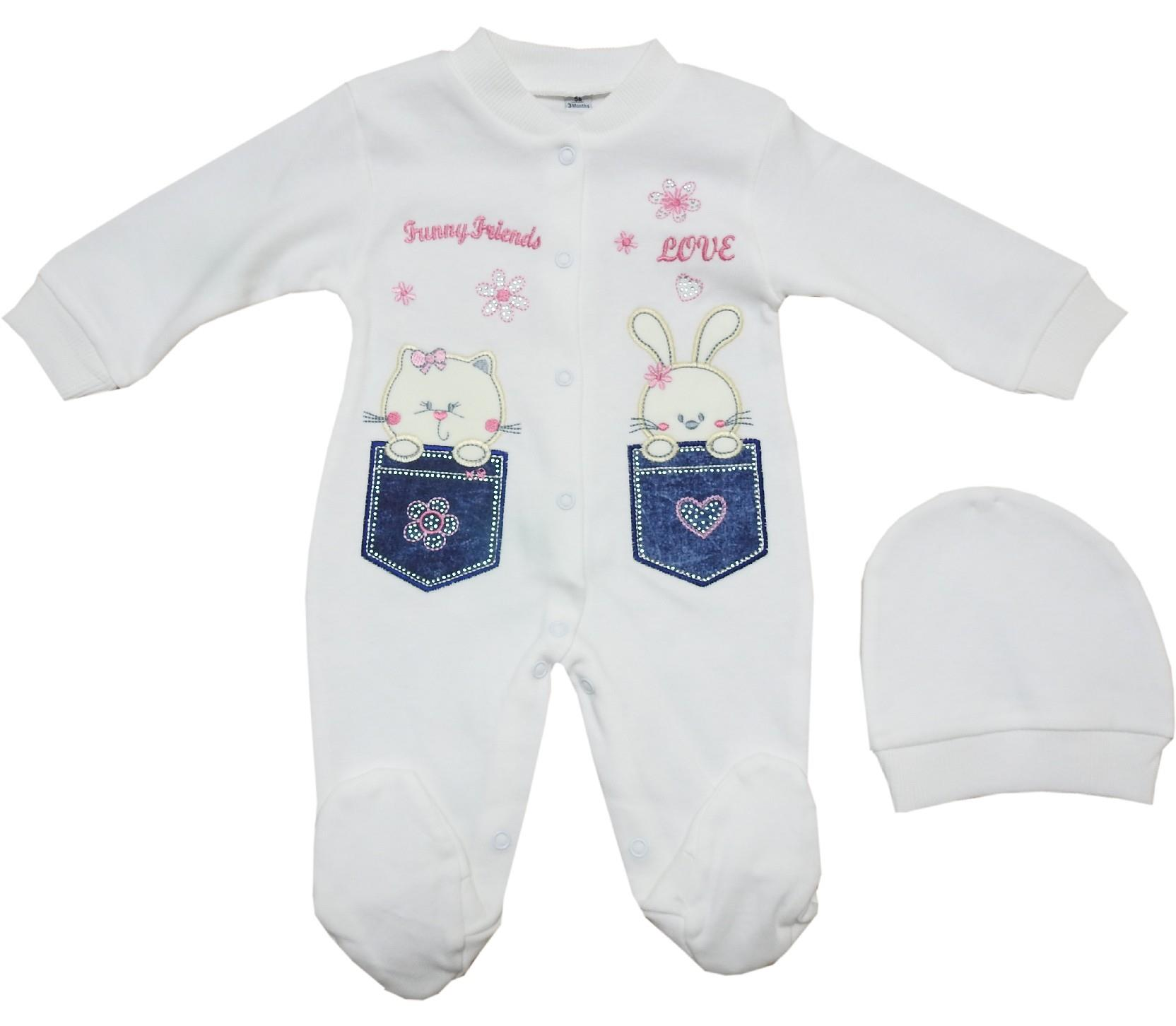 781 wholesale rabbit printed romper for baby girl (3-6-9 month)