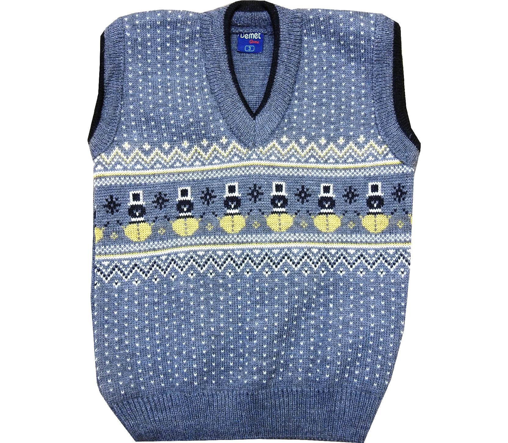 Wholesale snowman print sleeveless sweater for boy (1-3-5 age)