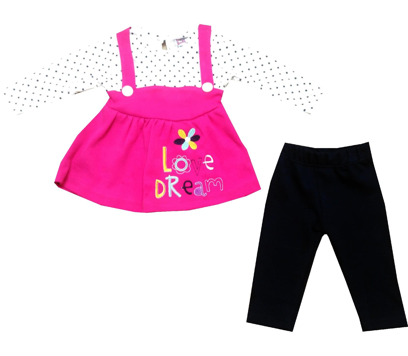 Wholesale love dream print dungaree, trouser double set suit forgirl (9-12-18-24 month)