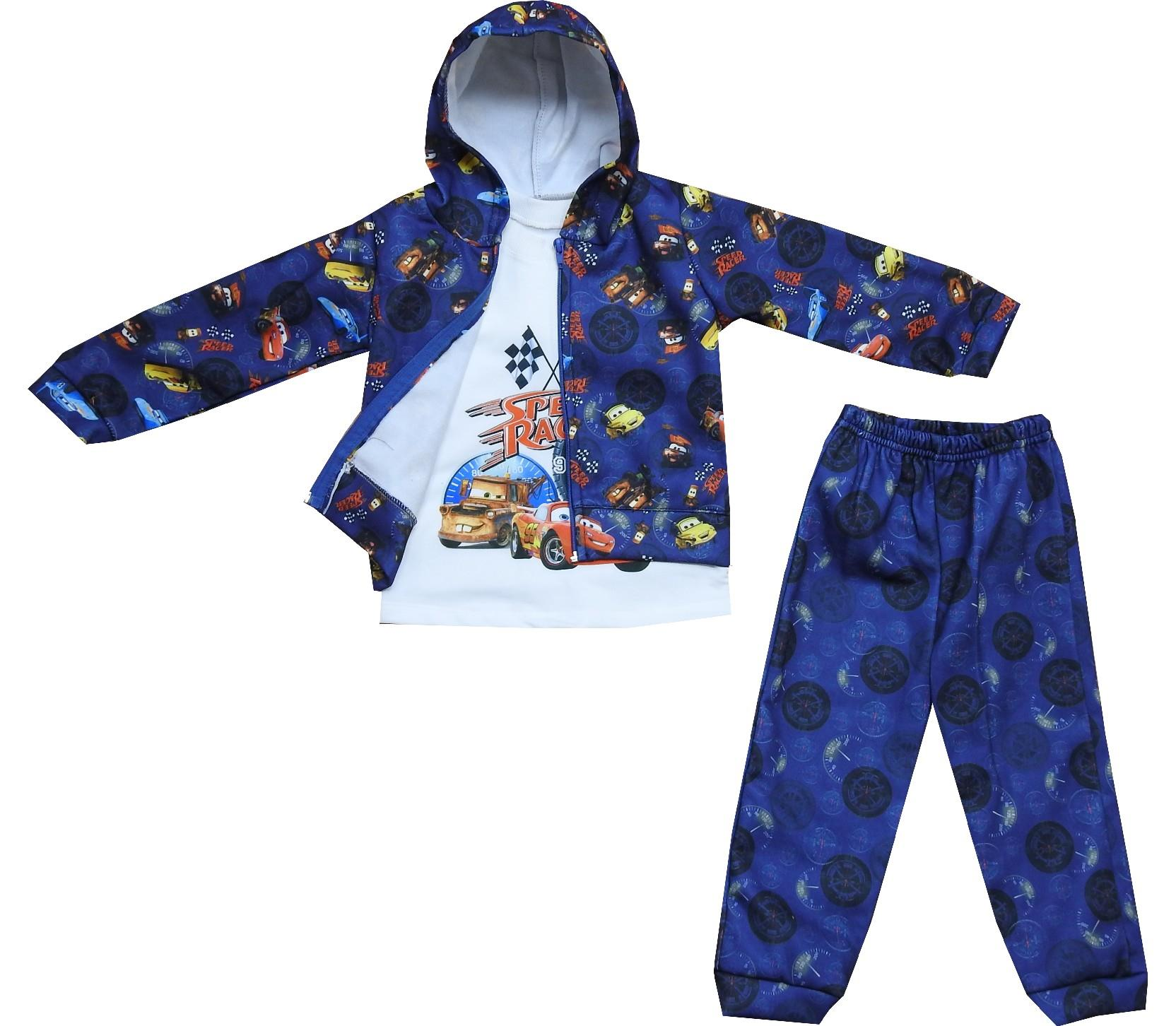 Wholesale three-ply car embroidery sweatshirt, t-shirt, trouser tracksuit for boy (1-2-3-4 age)