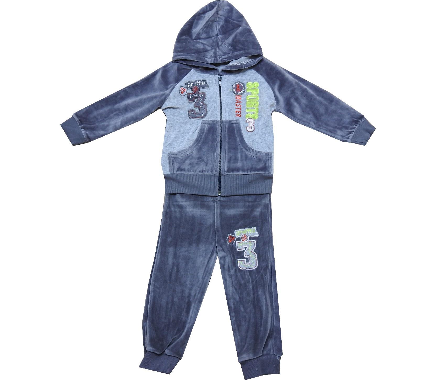 Wholesale velvet hoodie 3 print tracksuit for boy (2-3-4-5 age)