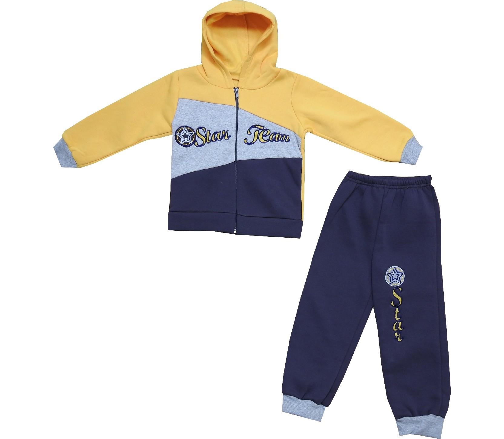 Wholesale ''Star team'' print hooded three-ply sweatshirt and trouser tracksuit for boy (3-4-5 age)