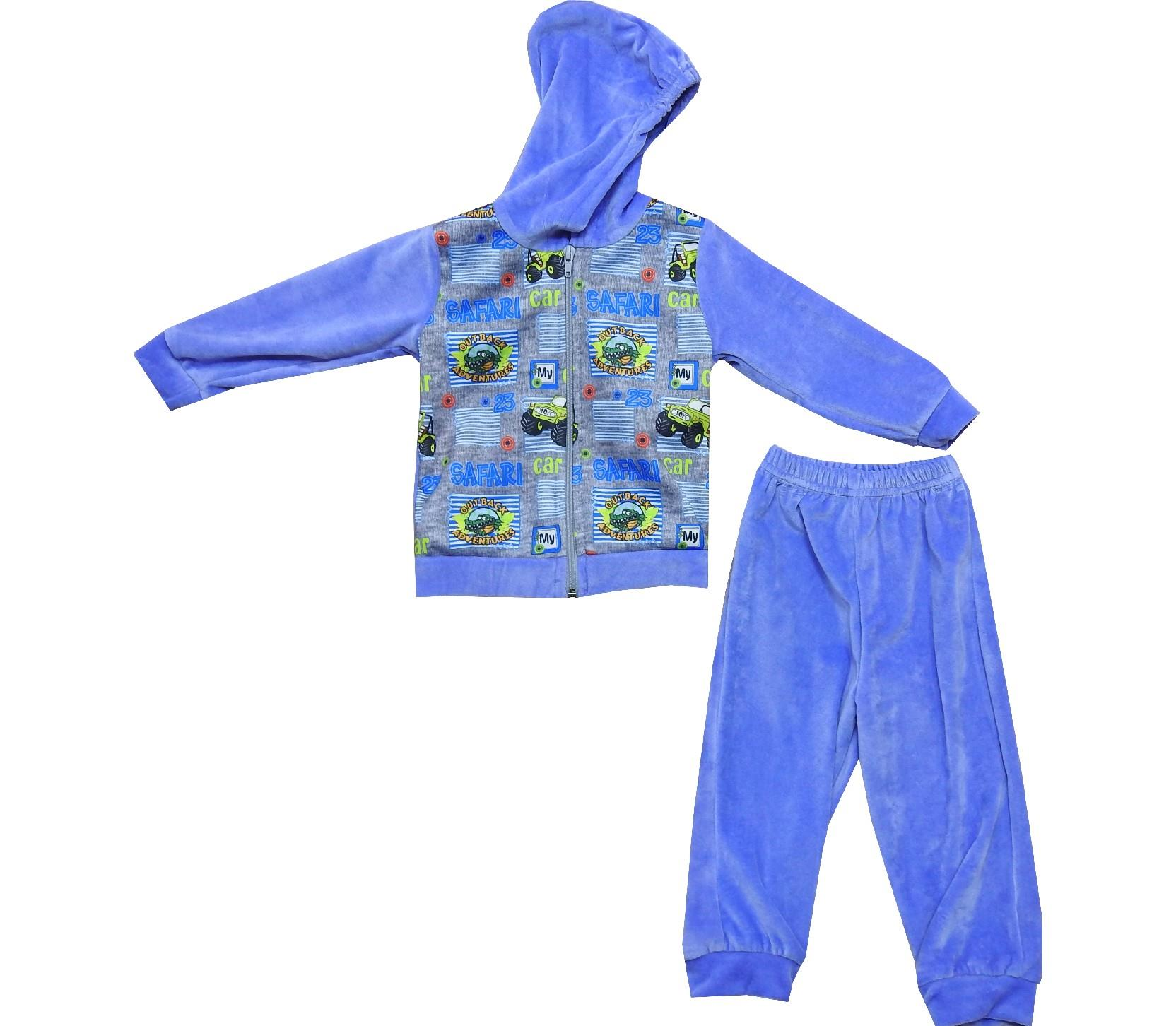 Wholesale safari embroidery velvet hooded sweatshirt and trouser for boy (1-2-3 age)