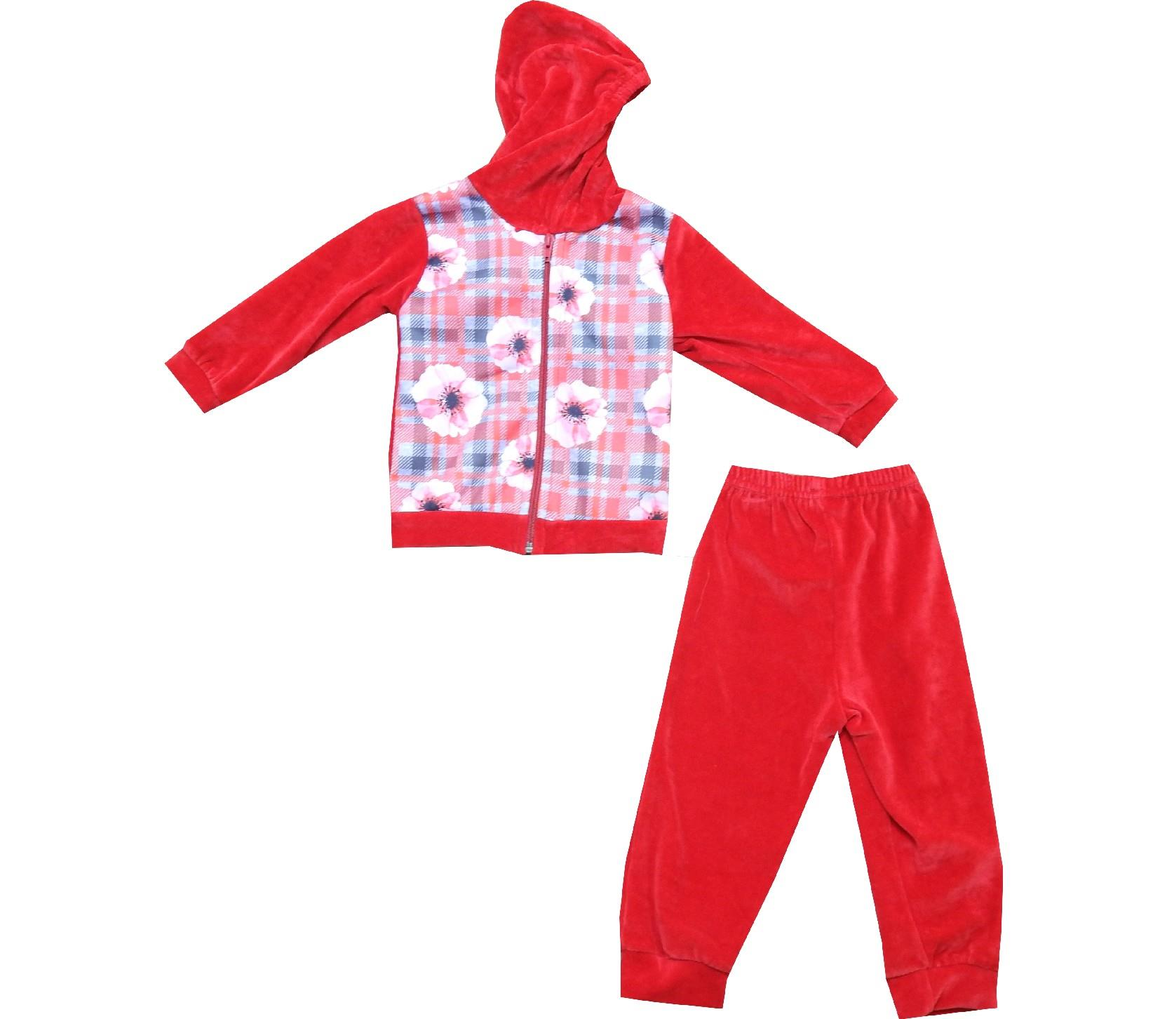 Wholesale flower and checked embroidery hoodie sweatshirt and trouser tracksuit for girl (1-2-3 age)