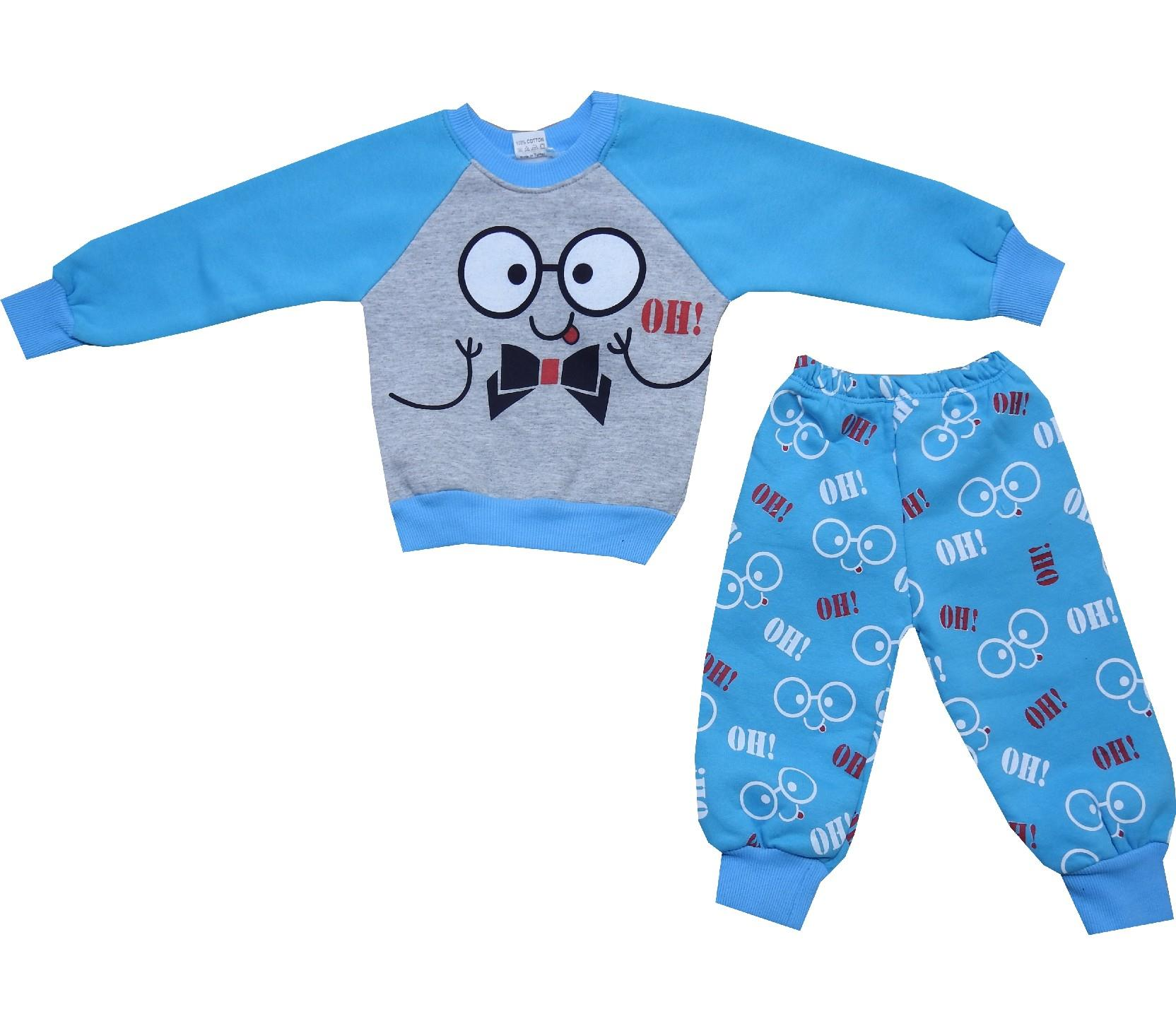Wholesale face print sweatshirt and trouser tracksuit for girl (1-2-3 age)