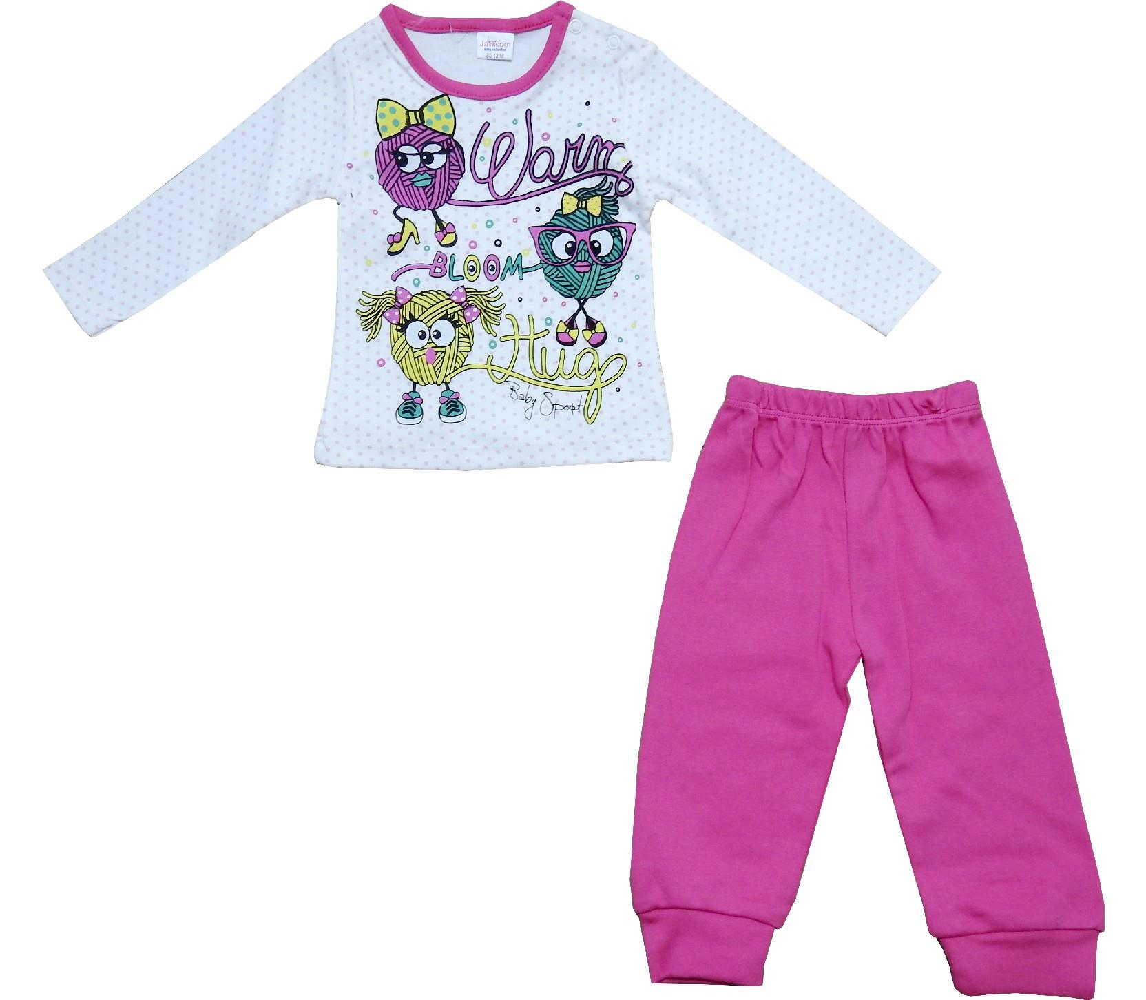 Wholesale warm hugg print sweat and trouser tracksuit for girl (6-9-12 month)