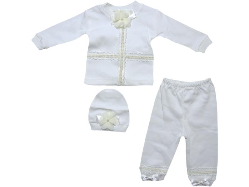 309 Wholesale newborn baby set of 3 item, with bow 3-6 months