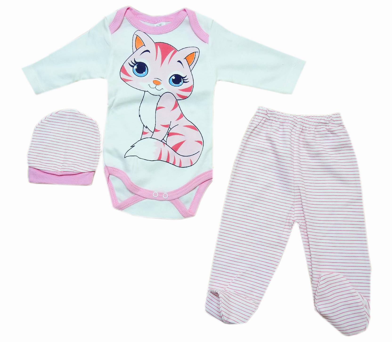 Wholesale cat print bodysuit, trouser and beanie set for baby girl (6-9-12 month)
