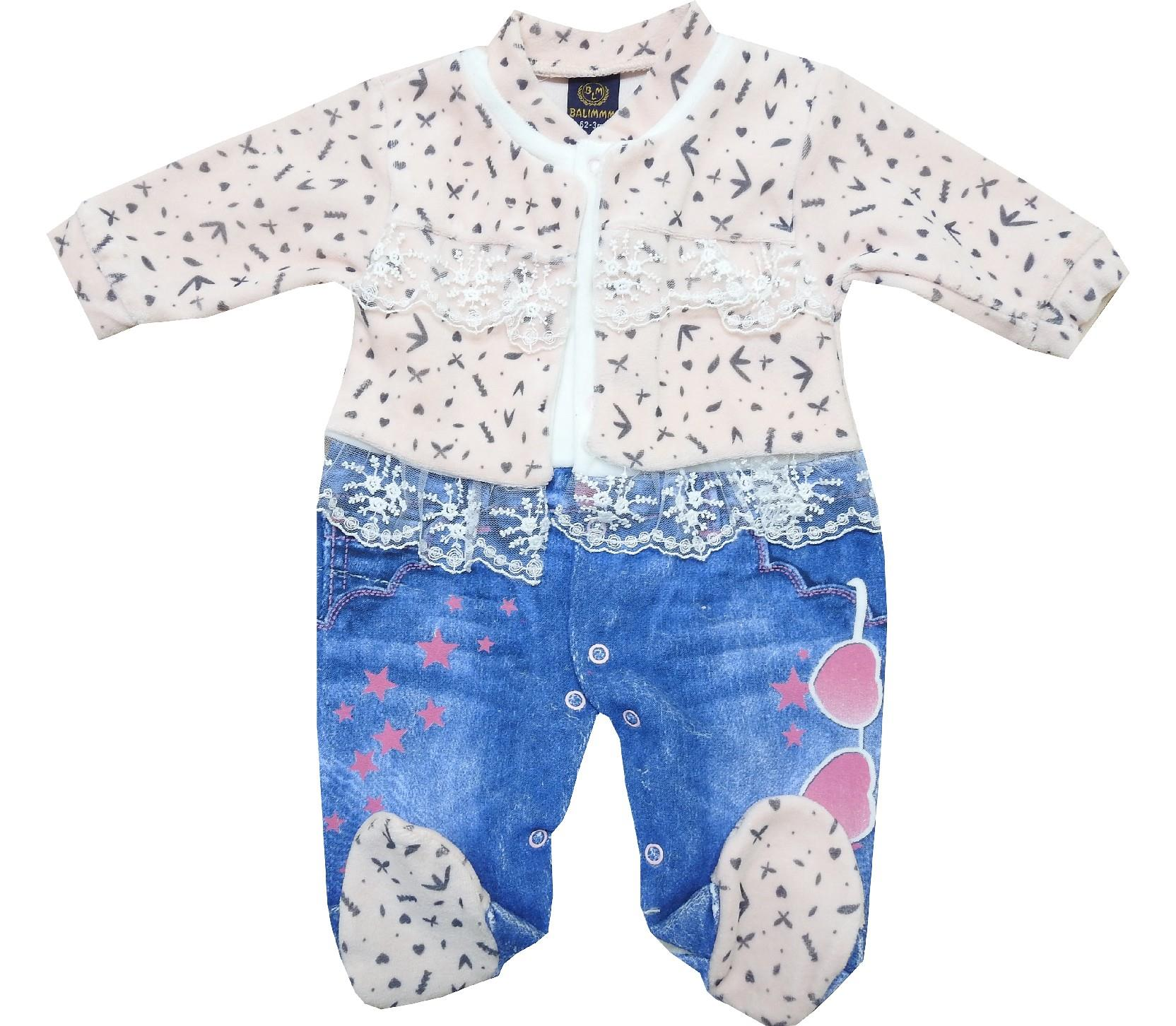 Wholesale velvet lace decorative romper for girl (3-6-9 month)