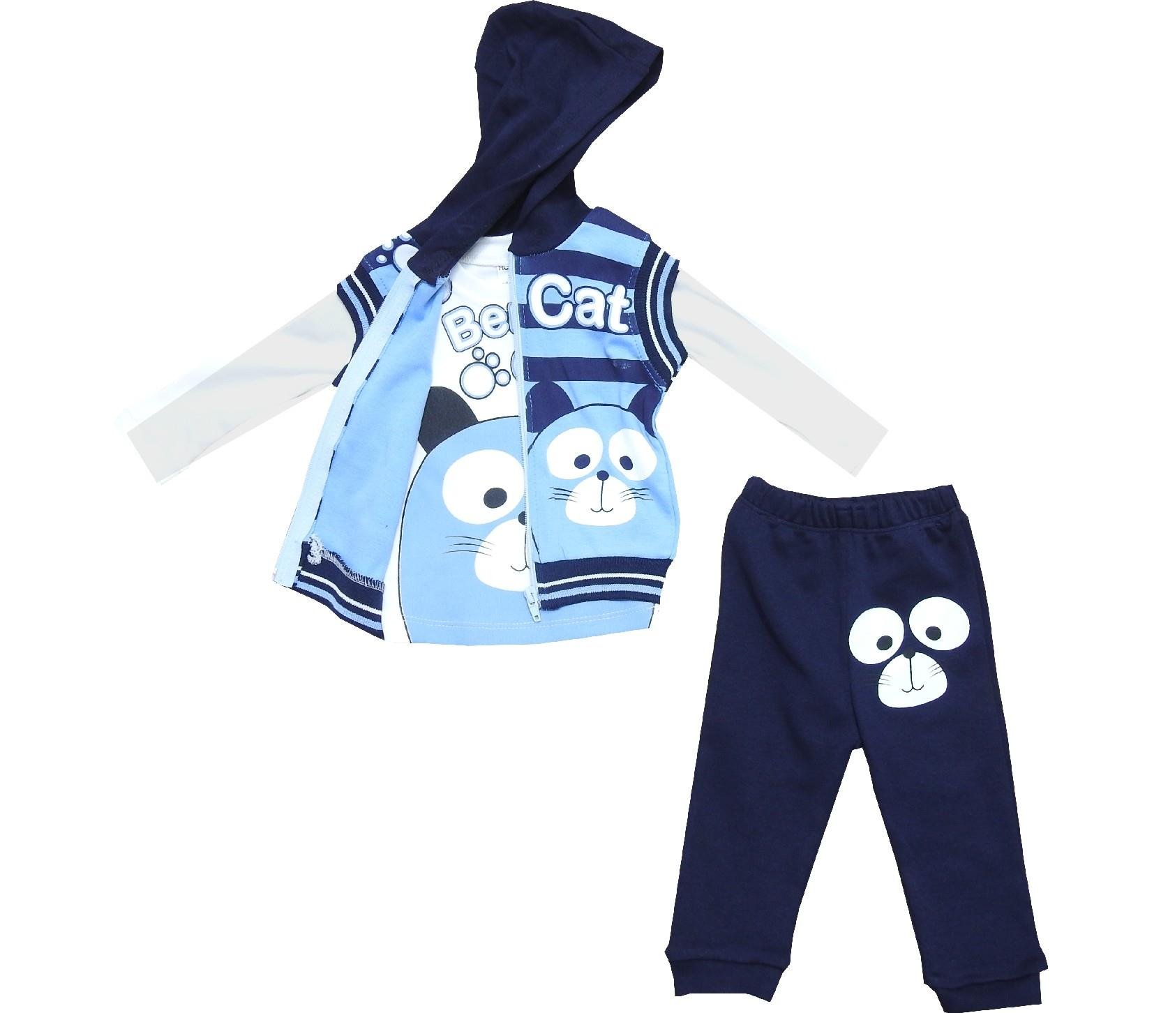 Wholesale cat face print hoodie vest, long sleeve t-shirt and trouser tracksuit for boy (6-12-18-24 month)