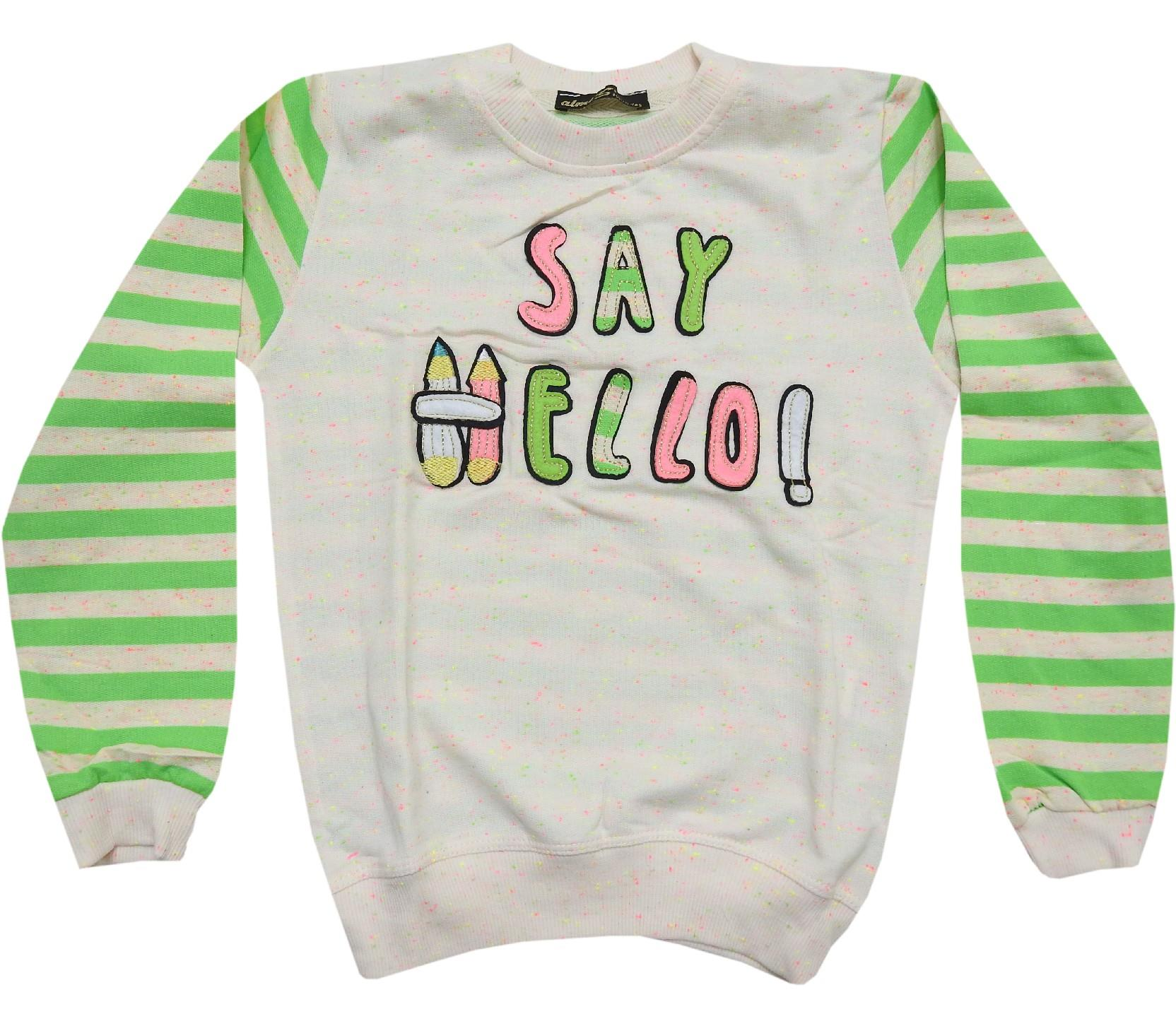 67625 wholesale say hello printed sweat for kids (5-6-7-8-9 age)