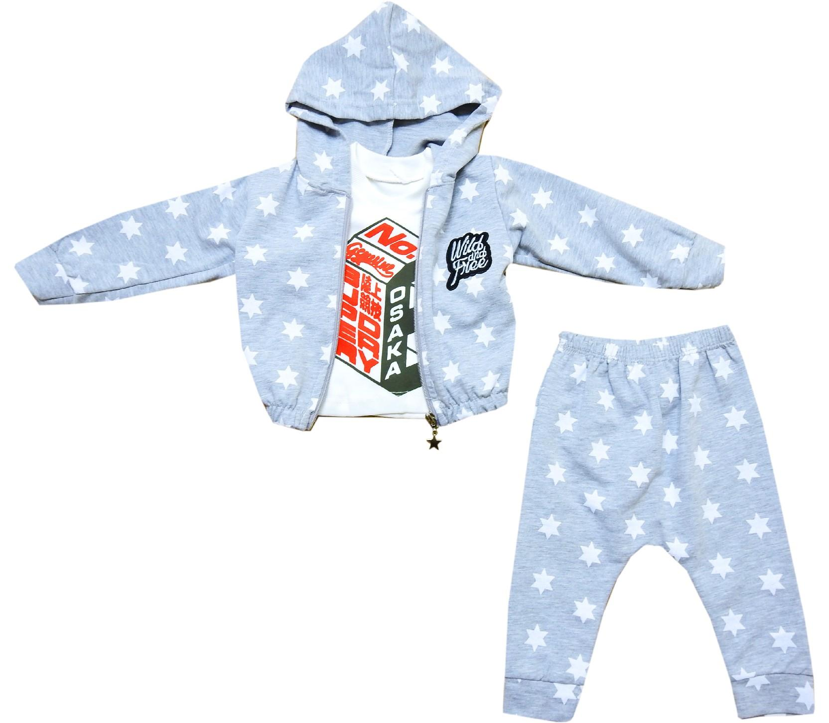 Wholesale star embroidery t-shirt, hooded sweatshirt and trouser triple set for boy (6-12-18 month)