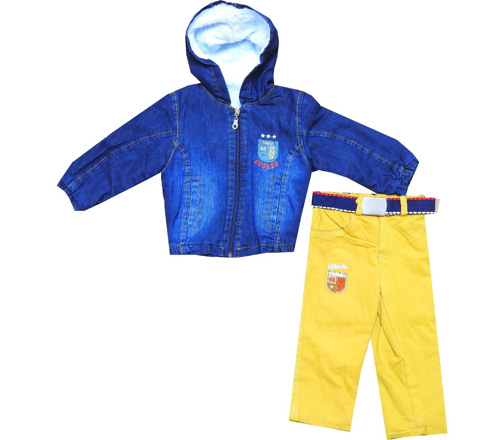 Wholesale hooded jeans jacket and pant double set for boy (1-2-3 age)