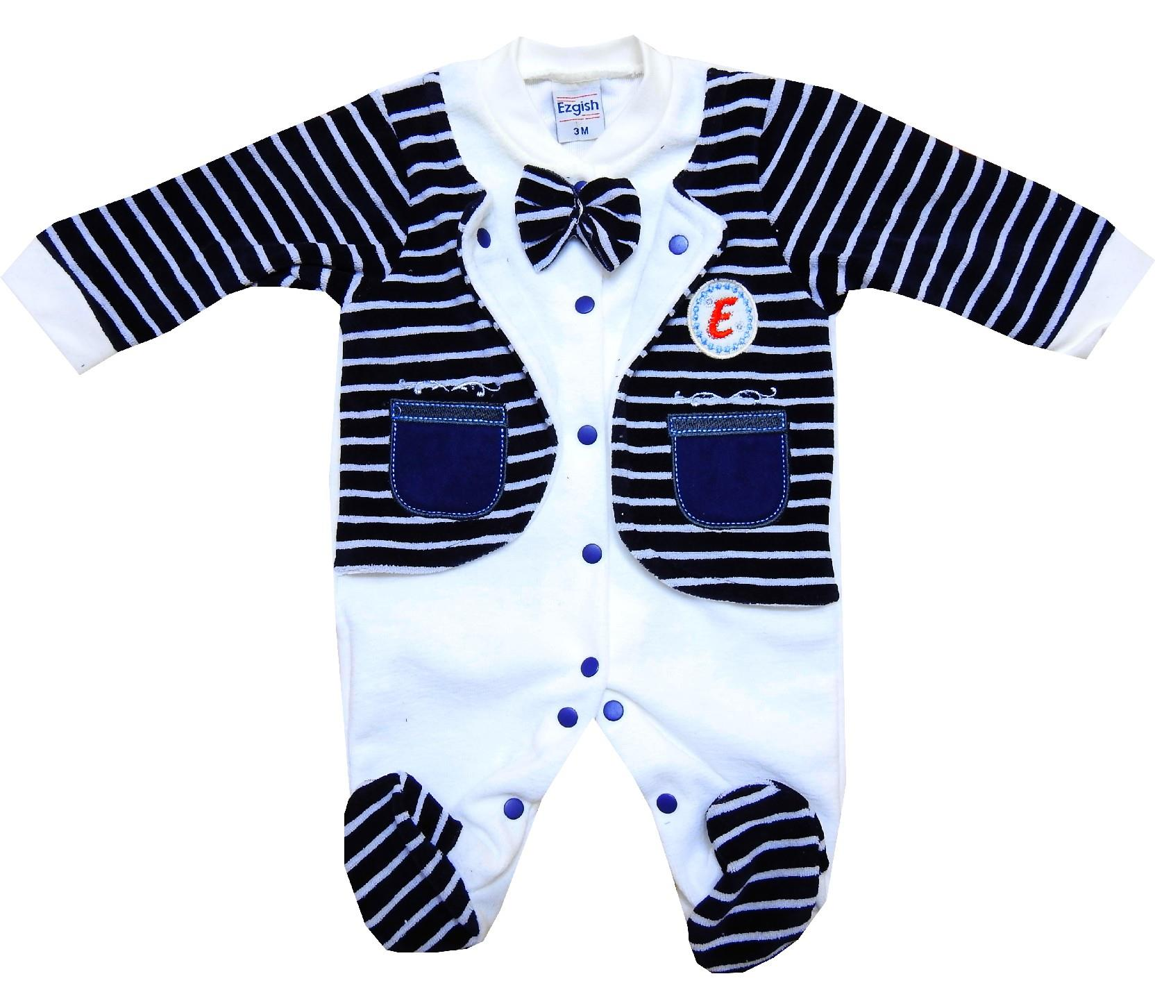 Wholesale striped design velvet rompers for baby (3-6-9 month)