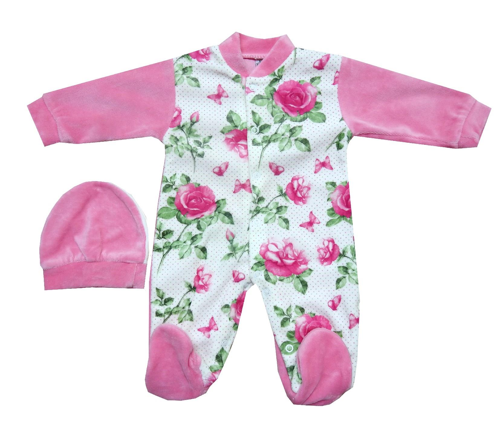 694 wholesale flower embroidery velvet romper for girl (3-6-9 month)
