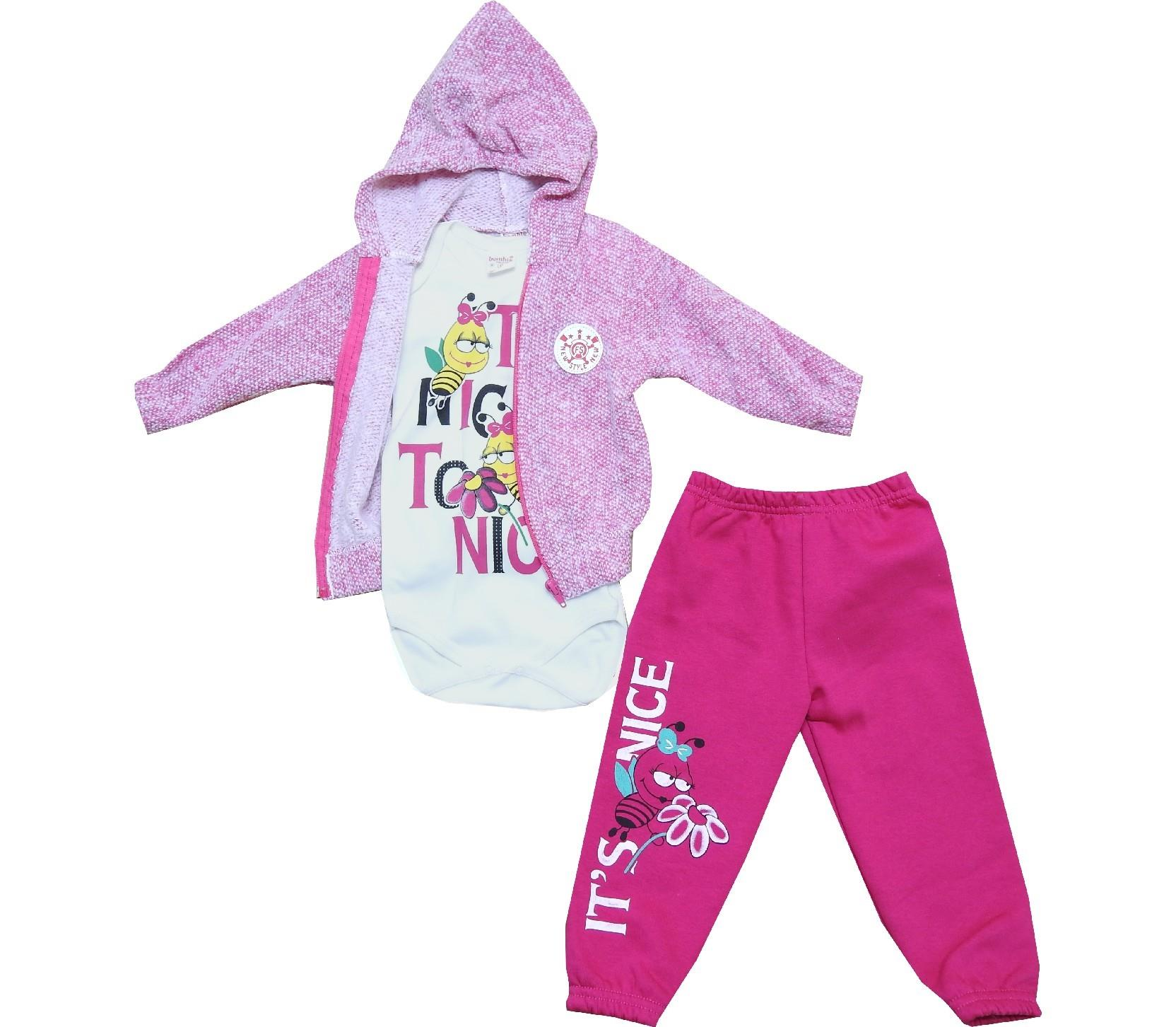 Wholesale printed design hooded sweatshirt, bodysuit and trouser triple set for kids (1-2 age)