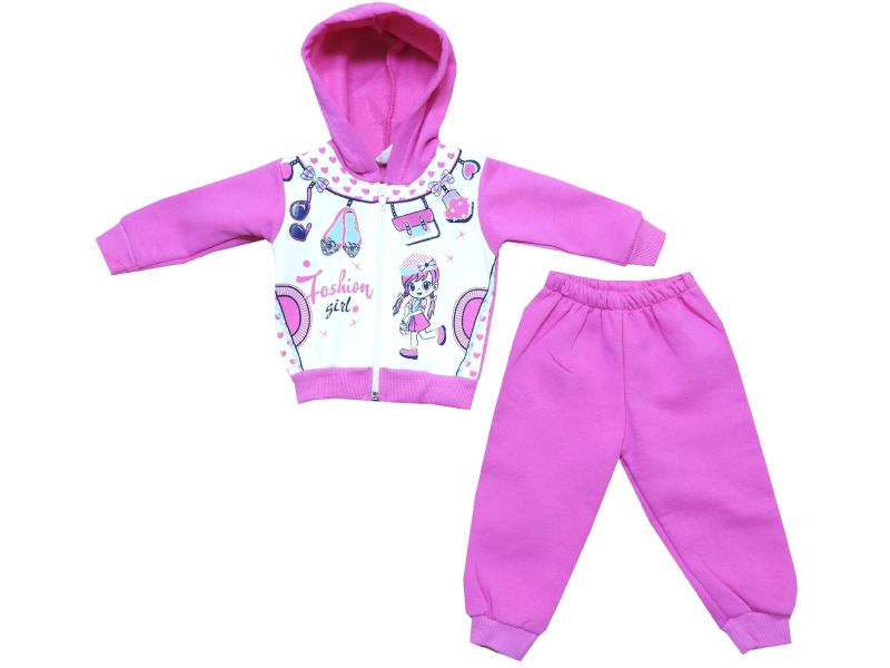 Wholesale ''fashion girl'' printed hooded tracksuit for girl (6-9-12 month)