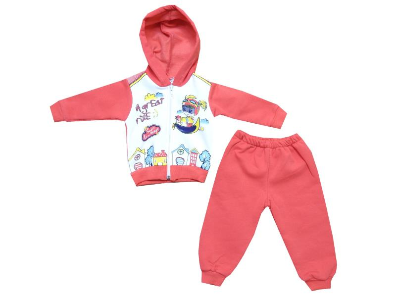 Wholesale ''a great rise'' print hooded tracksuit for girl (6-9-12 month)