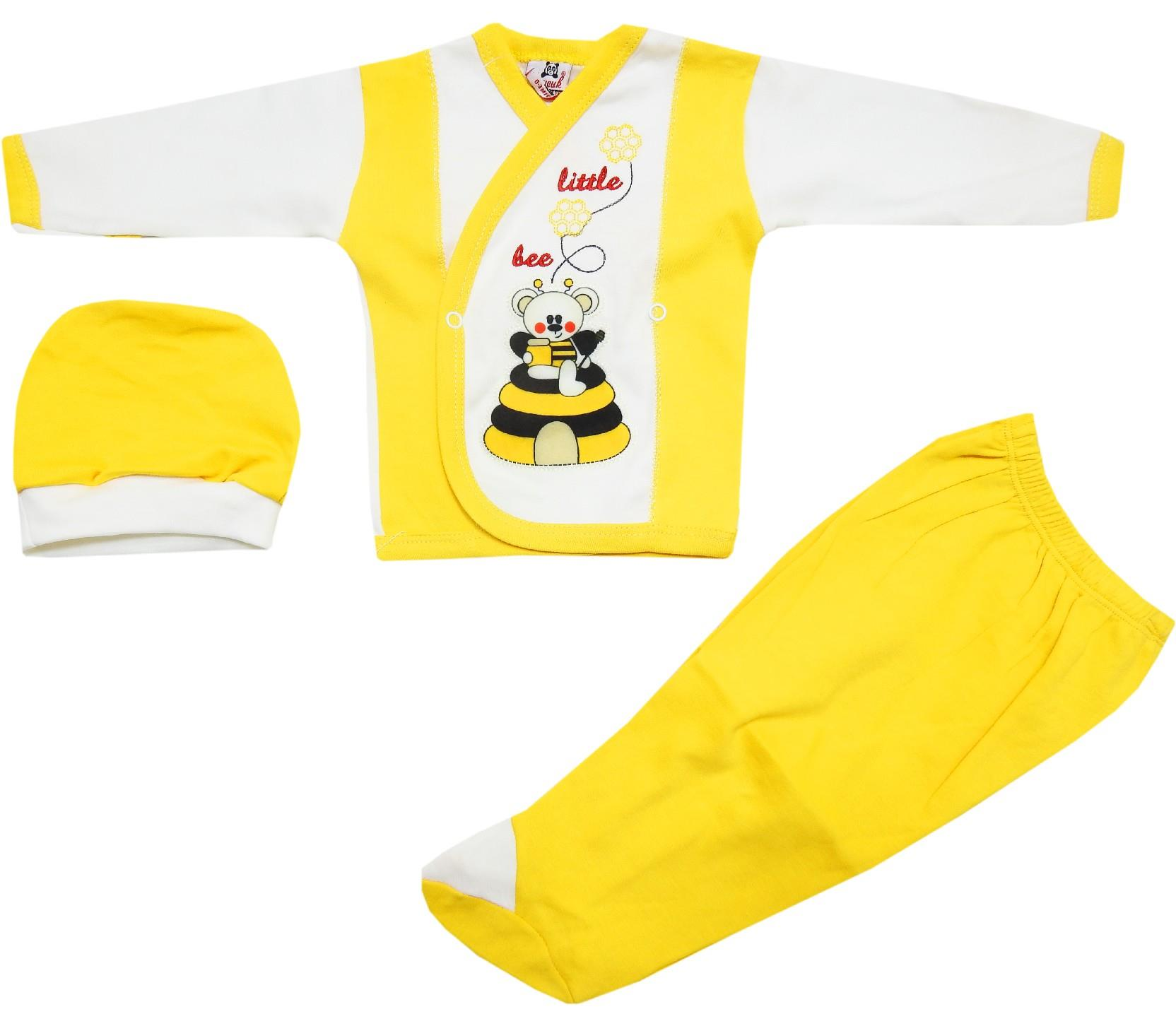 20058 wholesale little bee printed sweat, beanie and trouser for baby (0-3 month)
