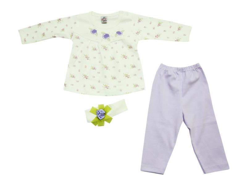10032 wholesale flower printed dress,trouser with headband for baby girl (6-9-12 month)