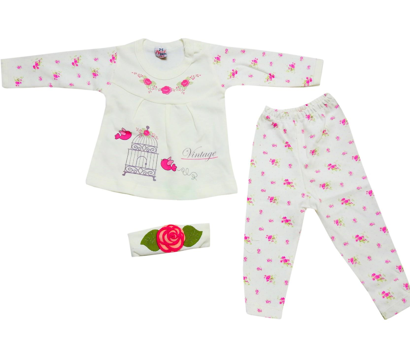 10031 wholesale flower embroidery sweat and trouser with headband (6-9-12 month)