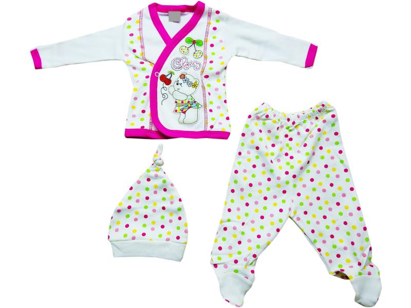 20004 Wholesale bear printed newborn set for girl baby clothes (0-3 month)