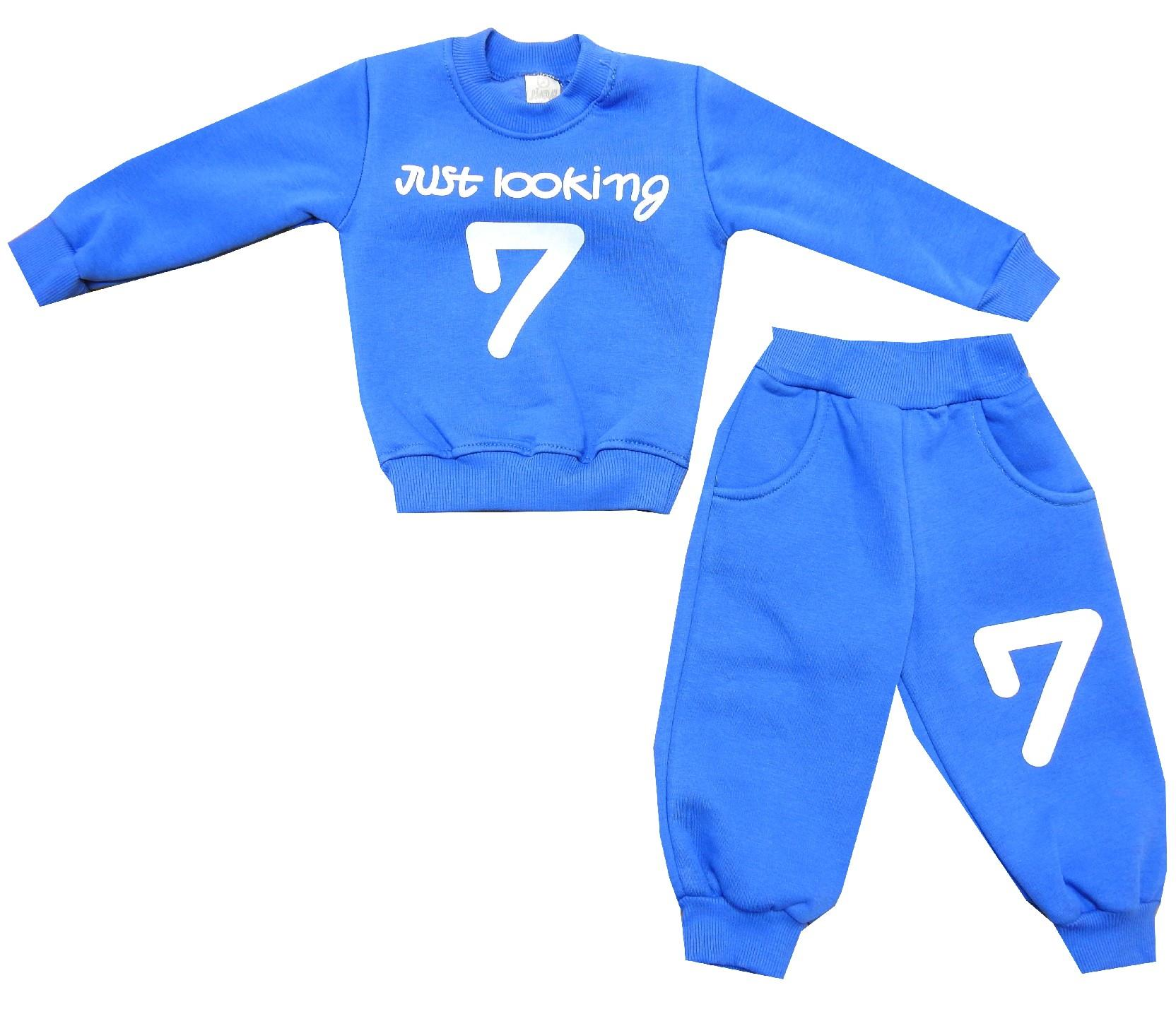 Wholesale ''just looking 7'' print tracksuit for boy (1-2-3 age)