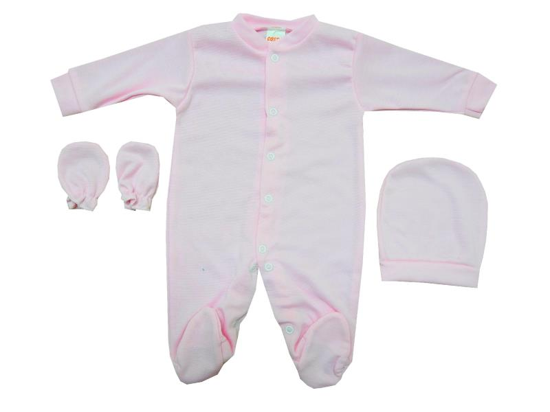 Wholesale velvet overall with gloves and beanie for baby (6-9-12 month)