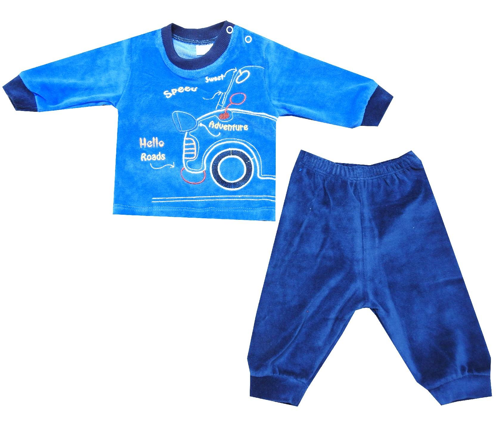 Wholesale ''hello roads'' velvet tracksuit for baby (3-6-9-12 month)