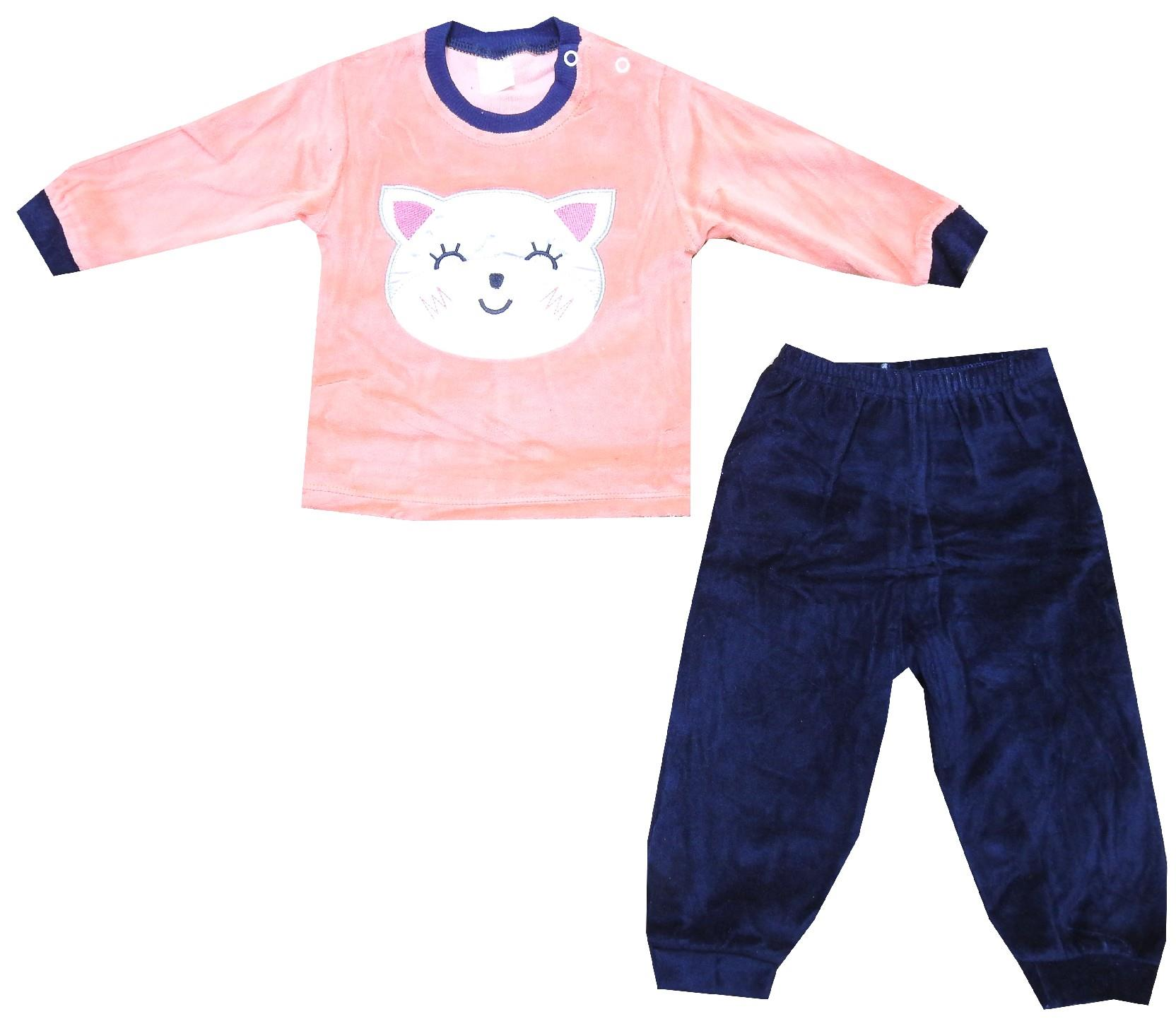Wholesale velvet cat print tracksuit for baby (3-6-9-12 month)